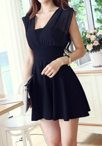 Black Patchwork Draped Square Neck Elegant Mini Dress