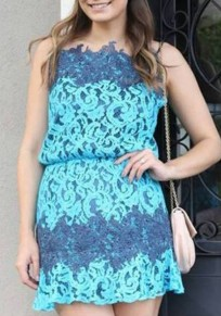 Light Blue Patchwork Lace Hollow-out Condole Belt Sexy Mini Dress