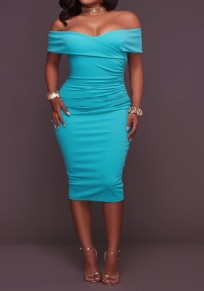 Light Blue Plain Bandeau Boat Neck Off Shoulder Bodycon Homecoming Midi Dress