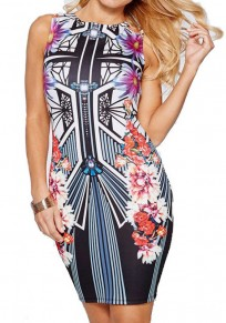 Multicolor Flowers Print Round Neck Sleeveless Vintage Bodycon Pencil Midi Dress