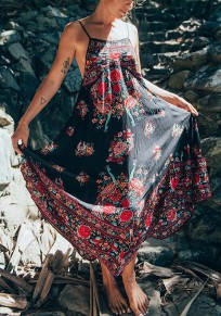 Black Floral Backless Condole Belt Round Neck Fashion Maxi Dress