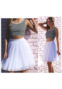 White Striped Print Beading Two Piece Round Neck Sleeveless Modal Mini Dress
