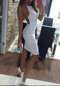 White Plain Round Neck Sleeveless Cocktail Party Midi Dress