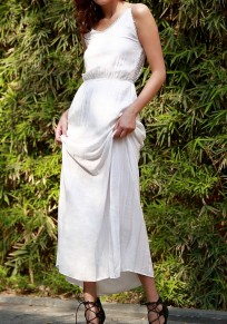 White Plain Condole Belt Lace Hollow-out V-neck Maxi Dress