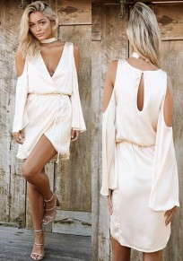 Nude Plain Cut Out Cleavage Sashes Slit Halter Neck Mini Dress