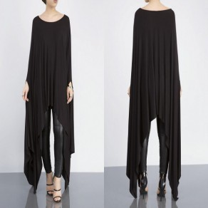 Black Irregular Draped Round Neck Long Sleeve Cloak Fashion Maxi Dress