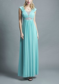 Blue Patchwork Rhinestone Zipper Draped V-neck Fashion Maxi Dress