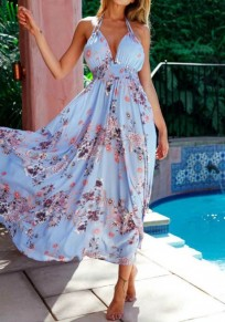 Blue Flowers Pleated Tie Back Halter Neck Open Back Maxi Dress