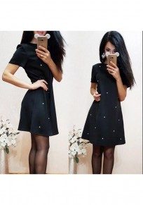 Black Pearl Short Sleeve Fashion Loose Mini Dress