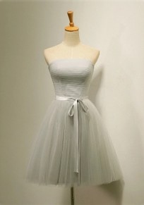 Grey Patchwork Sashes Bandeau Bridesmaid Tutu Mini Dress