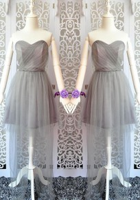 Grey Patchwork Grenadine Pleated Bandeau Bridesmaid Maxi Dress