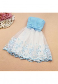 Sky Blue Patchwork Bow Double-deck Bandeau Grenadine Embroidery Mini Dress