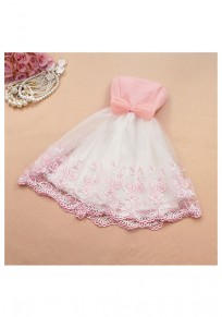 Pink Patchwork Lace Embroidery Bow Bandeau Mini Dress