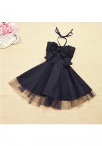 Black Patchwork Grenadine Bow Halter Neck Tutu Mini Dress