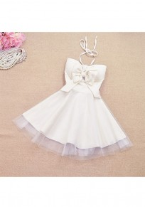White Patchwork Grenadine Bow Halter Neck Tutu Mini Dress