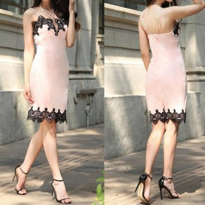 Pink-Black Patchwork Lace Hollow-out Spaghetti Strap Cleavage Backless Elegant Mini Dress