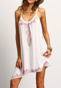 White Geometric Print Spaghetti Strap Tie Back Irregular Mini Dress