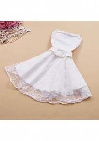 White Patchwork Lace Grenadine Beading Bandeau Mini Dress