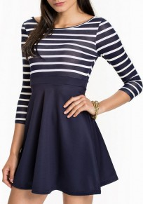 Navy Blue-White Striped Draped Open Back 3/4 Sleeve Mini Dress