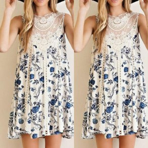 White-Blue Patchwork Lace Floral Print See-through Hollow-out A-line Bohemian Mini Dress