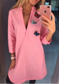 Pink Patchwork Butterfly Appliques V-neck Casual Mini Dress