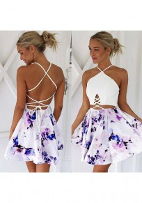 White Floral Drawstring Pleated Sleeveless Sweet Mini Dress