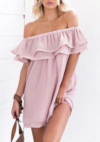 Pink Double-deck Ruffle Boat Neck Short Sleeve Fashion Mini Dress