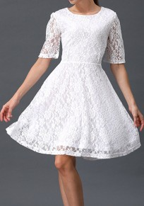 White Patchwork Zipper Lace Double-deck Half Sleeve Mini Dress