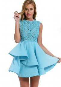 Light Blue Patchwork Grenadine Lace Peplum A-line Elegant Mini Dress