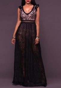 Black Patchwork Lace 2-in-1 Backless Deep V-neck Maxi Dress