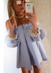 Blue-White Patchwork Lace Pleated Off-shoulder Lantern Sleeve Cute Mini Dress