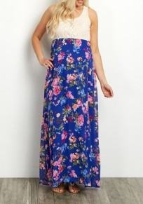 Dark Blue Patchwork Floral Print Lace Draped Sleeveless Maternity Bohemian Maxi Dress