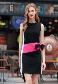 Black Bow Round Neck Sleeveless Patchwork Casual Midi Dress