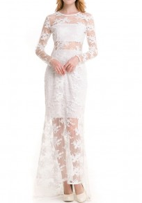 White Patchwork Lace Grenadine Round Neck Maxi Dress