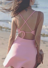 Pink Spaghetti Strap V-neck Cut Out Tie Back Backless Fashion Mini Dress