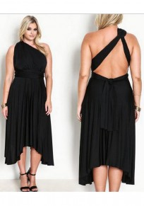 Black Irregular Backless Asymmetric Shoulder Sashes Plus Size Elegant Maxi Dress