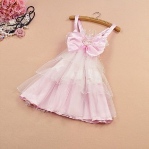 Pink Patchwork Grenadine Bow Tie Back Cute Mini Dress