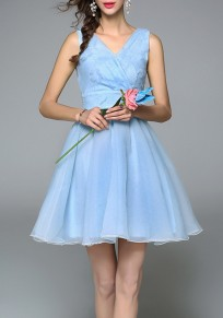 Sky Blue Patchwork Zipper Draped Appliques Elegant Mini Dress