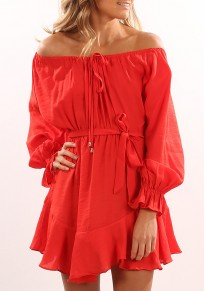 Red Drawstring Pleated Irregular Off Shoulder Casual Mini Dress