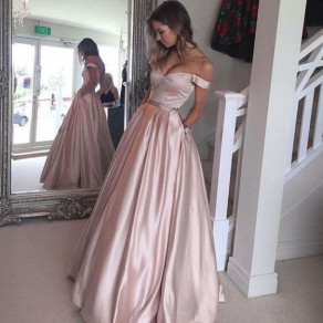 Pink Pleated Pockets Off Shoulder Backless Maxi Dress