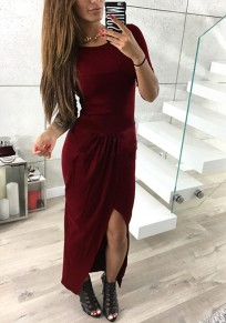 Wine Red Plain Irregular Round Neck Casual Maxi Dress