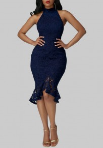 Blue Lace Ruffle Band Collar Sleeveless Fashion Midi Dress