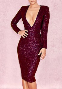 Burgundy Patchwork Sequin Sparkly Deep V-neck Bodycon Party Midi Dress