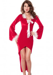 Red Plain Hollow-out Bow Christmas Dress