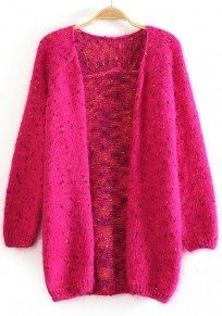 Rose Polka Dot Color Block Long Acrylic Cardigan