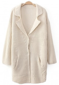Beige Plain Buttons Long Sleeve Cardigan