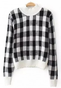 White Plaid Print Long Sleeve Sweater