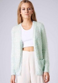 Light Green Plain Pockets Long Sleeve Cardigan