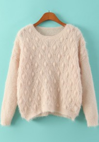 Beige Plain Hollow-out Loose Pullover