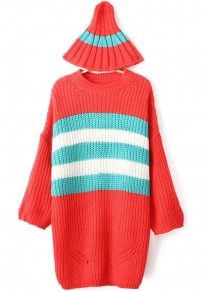 Red Striped Print Loose Pullover